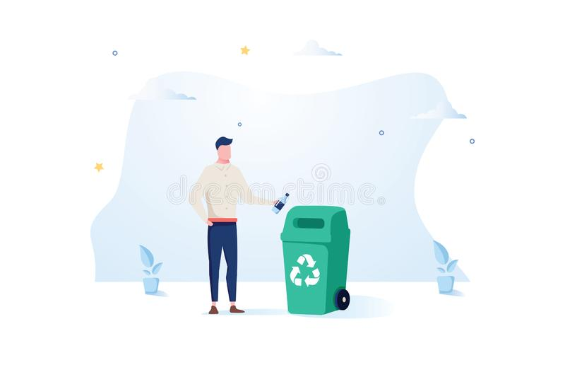 Man throws a plastic bottle into the trash can. The concept of caring for the environment and sorting garbage. Vector stock illustration