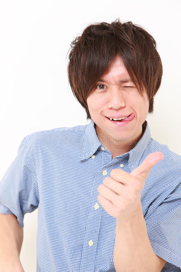 Man with thumbs up gesture stock images