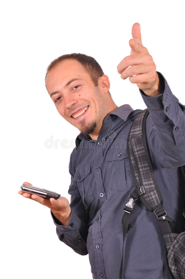 Man thumbs up, it's great success royalty free stock photos