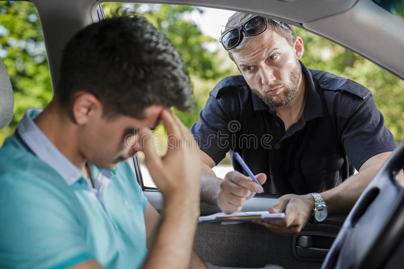 Man and the ticket stock images