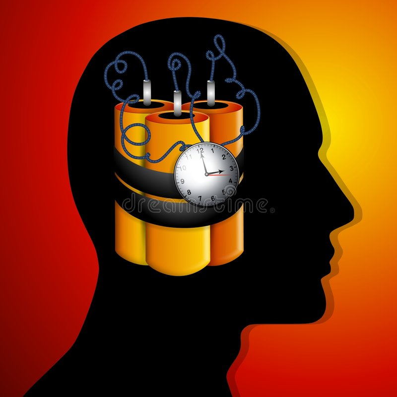 The Man is a Ticking Time Bomb. An illustration featuring a time bomb within the silhouette head of a person as a representation of psychological and/or stock illustration