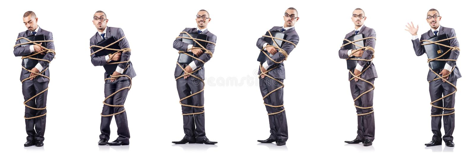 The man tied up isolated on white. Man tied up isolated on white royalty free stock photo