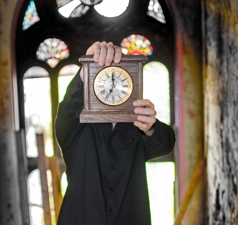 Man in time travel stock image