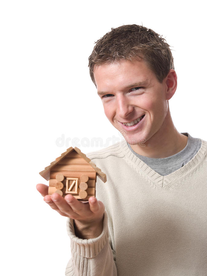 Download Man with tiny cabin stock photo. Image of caucasian, cabin - 18501150