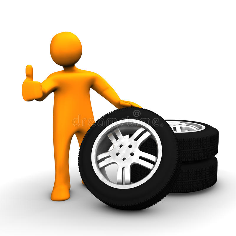 Man with tires. A figure of a man with a stack of tires royalty free illustration