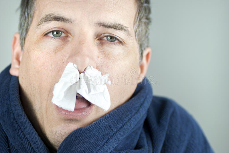 Man With Tissue In Nose. Close-up of a man with tissue in his nose stock images