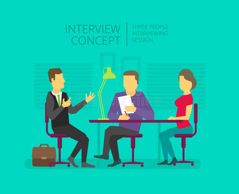 Man to give, grant an interview. Chat show. Personal interviewer Three people at the table royalty free illustration