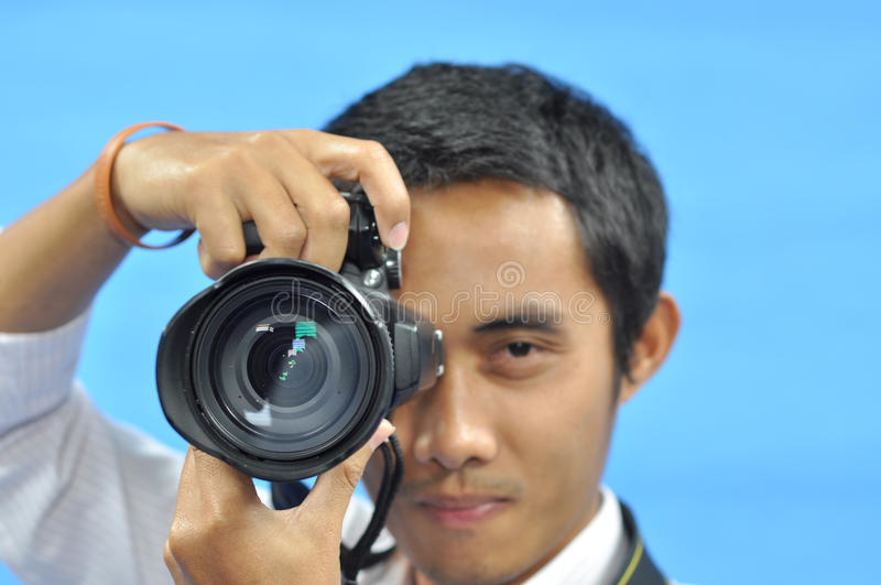 Man to taking a photo royalty free stock photo