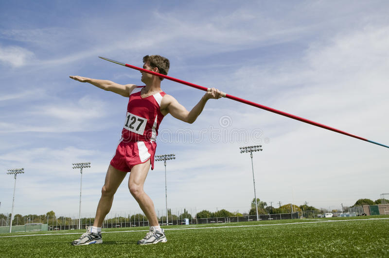 Man About To Throw Javelin stock images