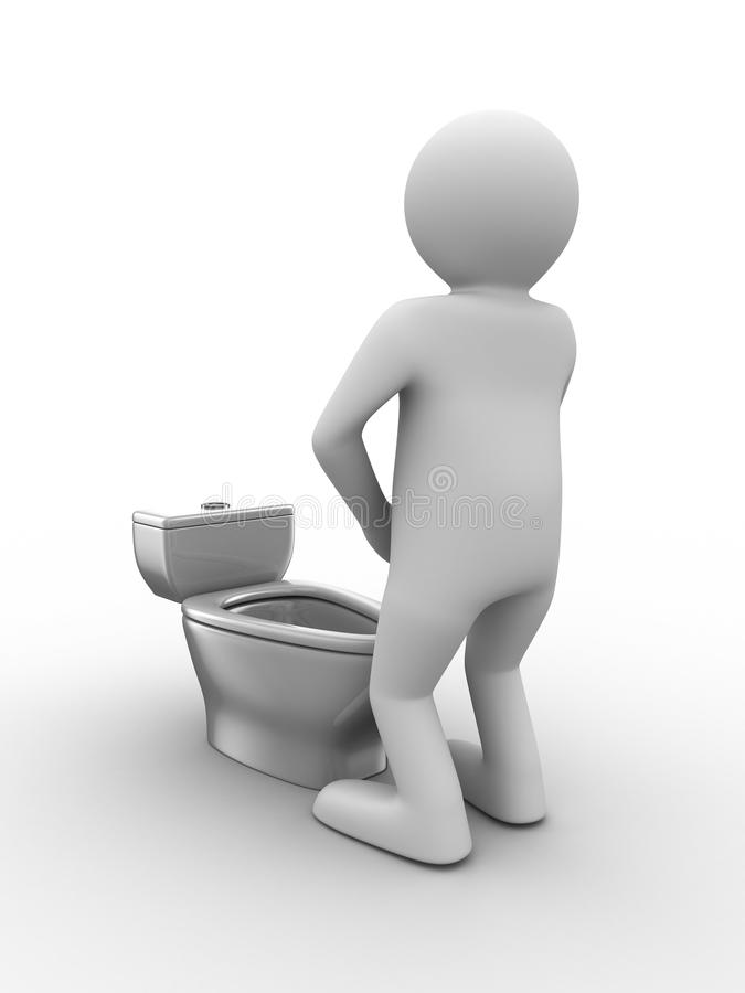 Man and toilet bowl. Isolated 3D image royalty free illustration
