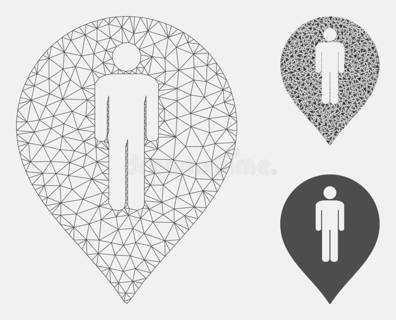 Man Toilet Marker Vector Mesh Wire Frame Model and Triangle Mosaic Icon. Mesh man toilet marker model with triangle mosaic icon. Wire frame triangular mesh of royalty free illustration