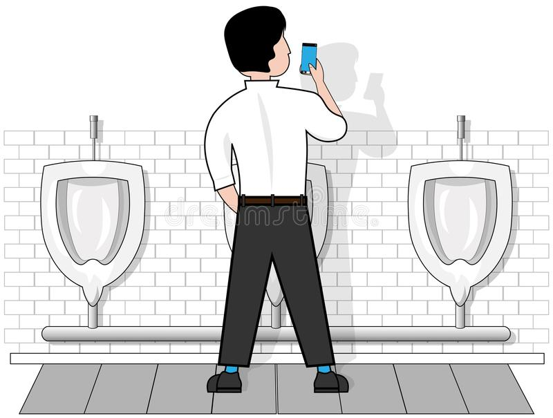 A man on an isolated white background in a toilet at the urinal, looks at the phone that holds in his hand. royalty free illustration