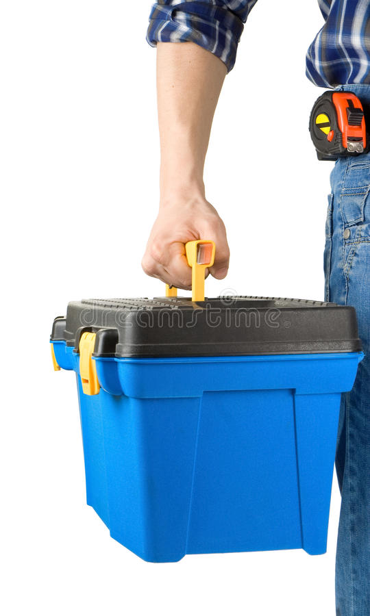 Man and toolbox with tools royalty free stock image