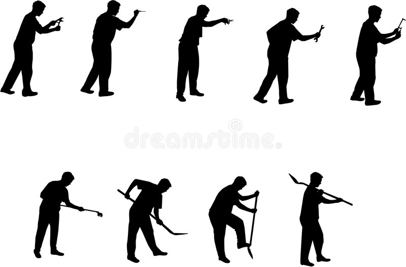 Download Man With Tools Silhouettes 3 Stock Vector - Image: 4514619