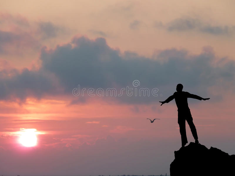 Man at the top stock images