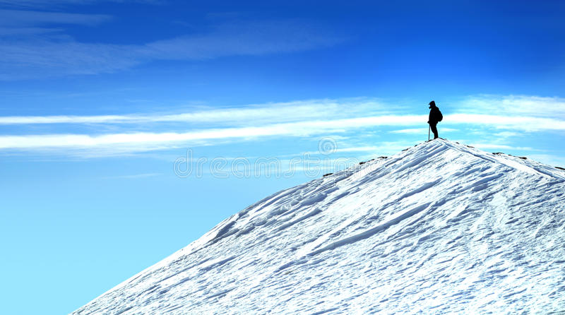 Man on Top of The Mountain stock image