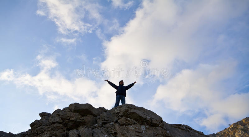 Download Man On Top Of The Mountain Royalty Free Stock Photo - Image: 21856425