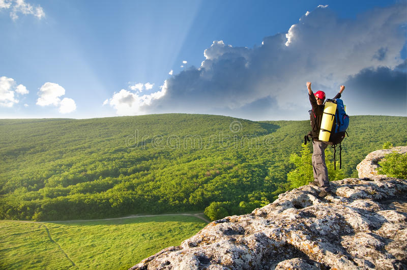 Download Man on top of mountain. stock photo. Image of energy - 21885652