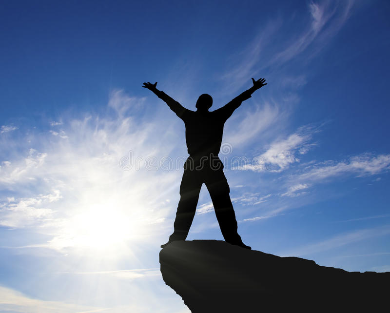 Download Man on top of mountain. stock photo. Image of achievement - 23564240