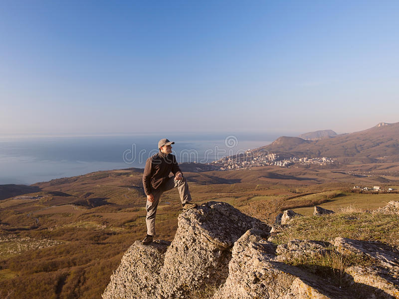 Download Man On The Top Of The Mountain Stock Image - Image: 27807273