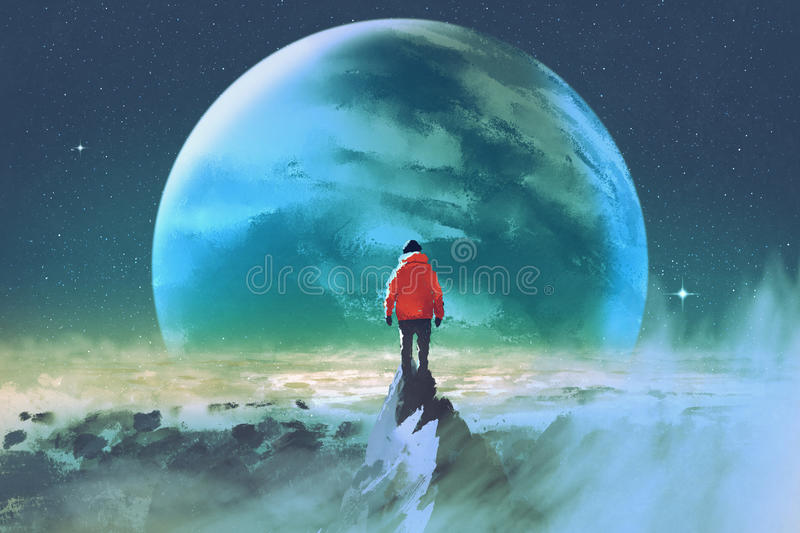 Man on top of mountain looking at another planet royalty free illustration