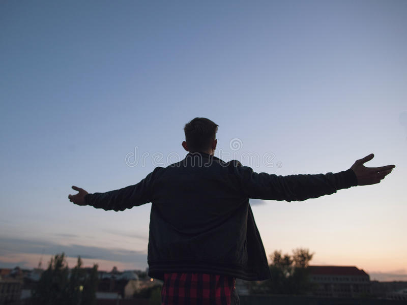 Man on top of the world. Hello world royalty free stock photos