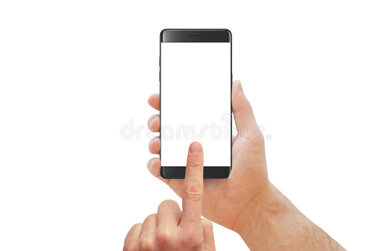 Man touch isolated cell phone display. Black modern smartphone with curved edge in man hand. royalty free stock photo