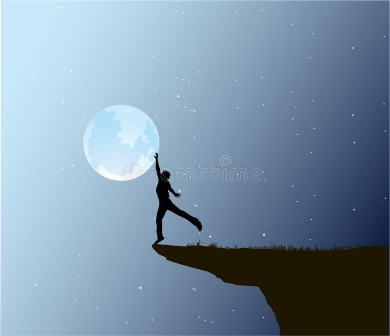 Man touch the moon stock illustration