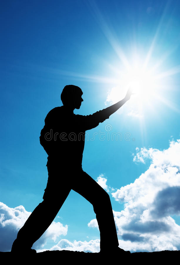 Man Touch Sun Royalty Free Stock Image