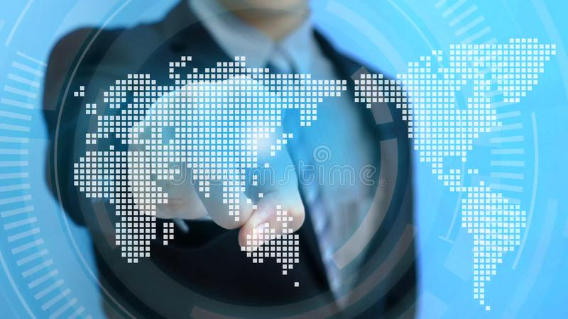 Man touch world map royalty free stock photos