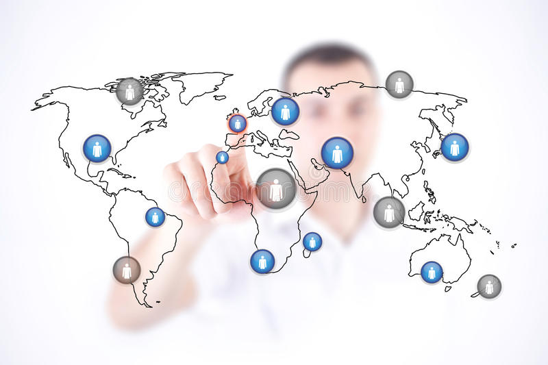 Download Man Touch World Map And Initiates Communication Stock Photo - Image: 25394492