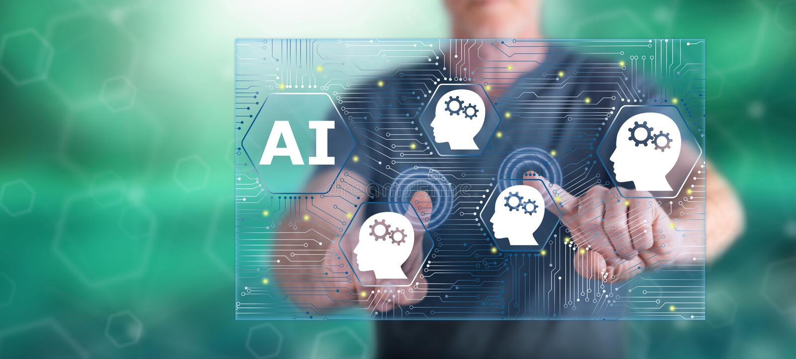 Man touching an artificial intelligence concept stock images