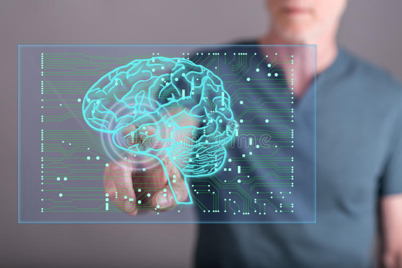 Man touching an artificial intelligence concept on a touch screen. With his finger stock photos