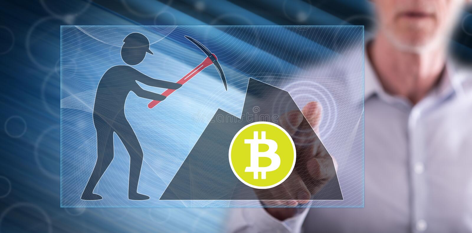 Man touching a bitcoin mining concept stock image