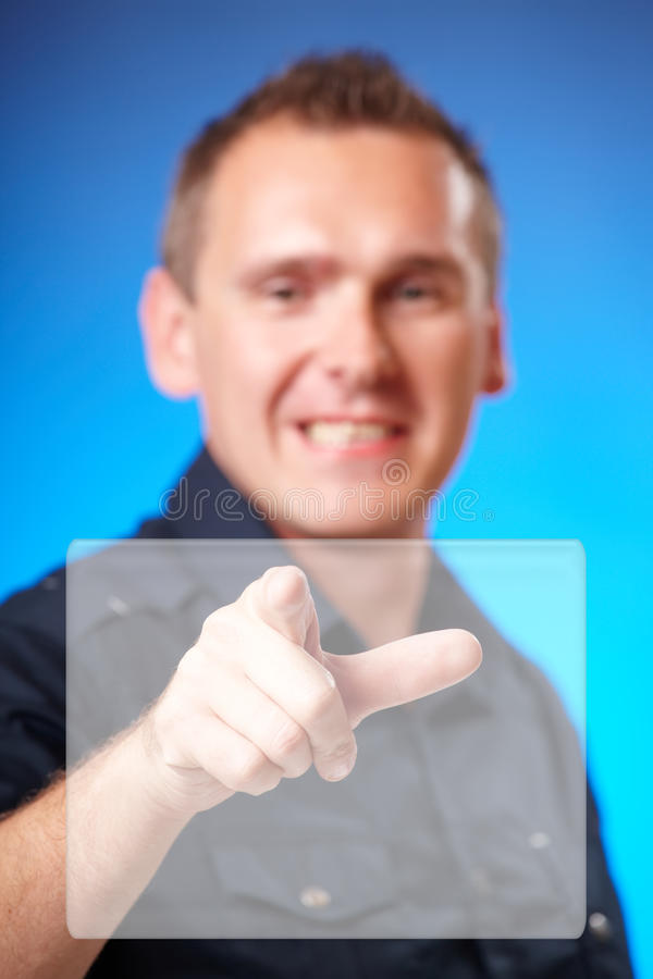Man Touching Blank Screen Royalty Free Stock Image