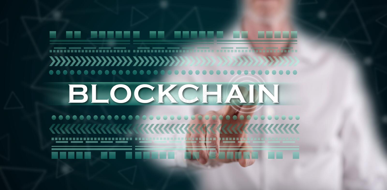 Man touching a blockchain concept royalty free stock photography