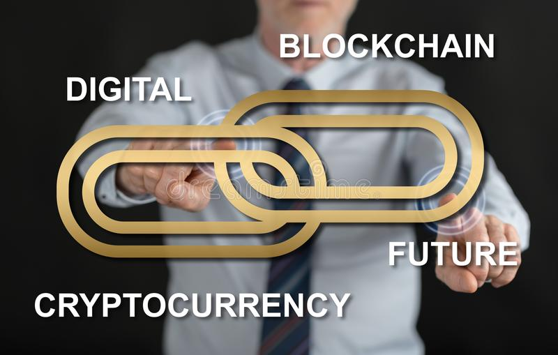 Man touching a blockchain concept on a touch screen royalty free stock image