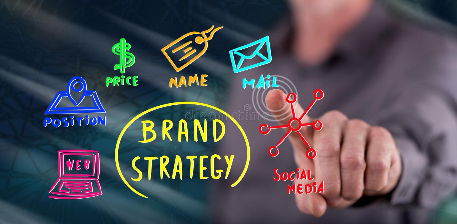 Man touching a brand strategy concept royalty free stock image