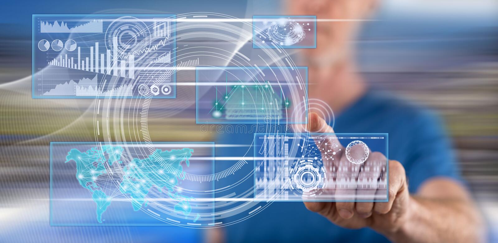 Man touching a business digital interface concept. On a touch screen with his finger stock photography