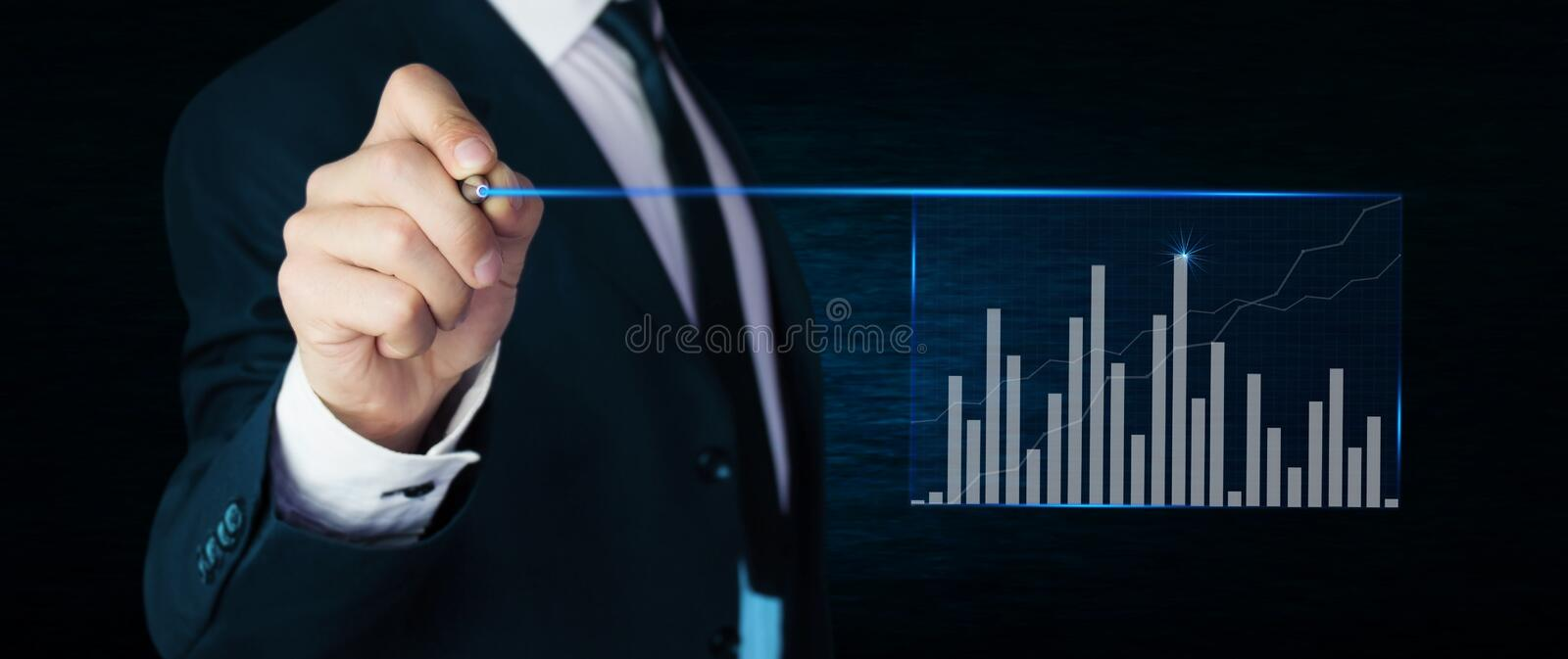 Man touching graph. Finance concept. stock images