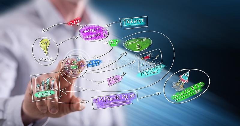 Man touching a business strategy concept. On a touch screen with his finger royalty free stock photo