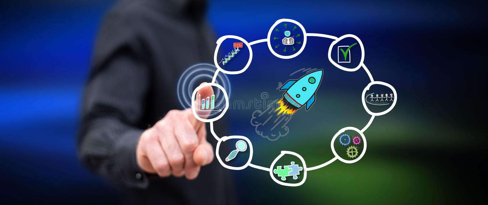 Man touching a business strategy concept. On a touch screen with his finger stock image