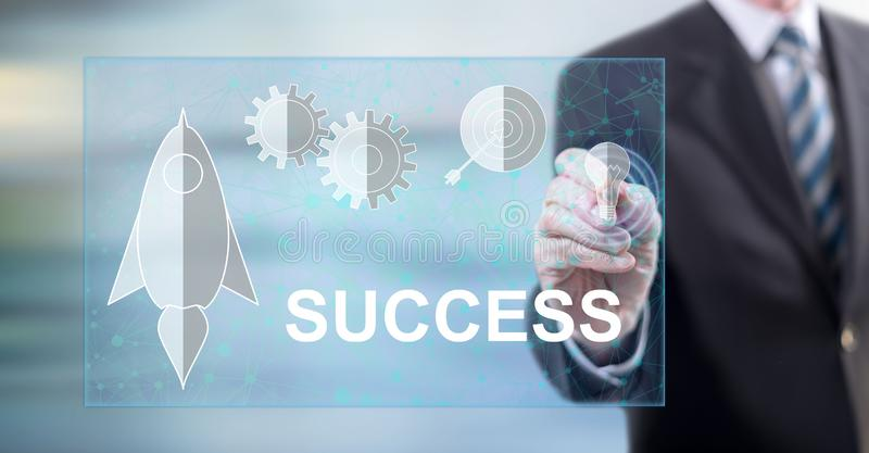 Man touching a business success concept stock photography