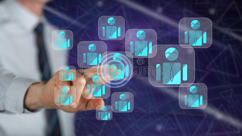Man touching a business team concept. On a touch screen with his finger royalty free stock photography