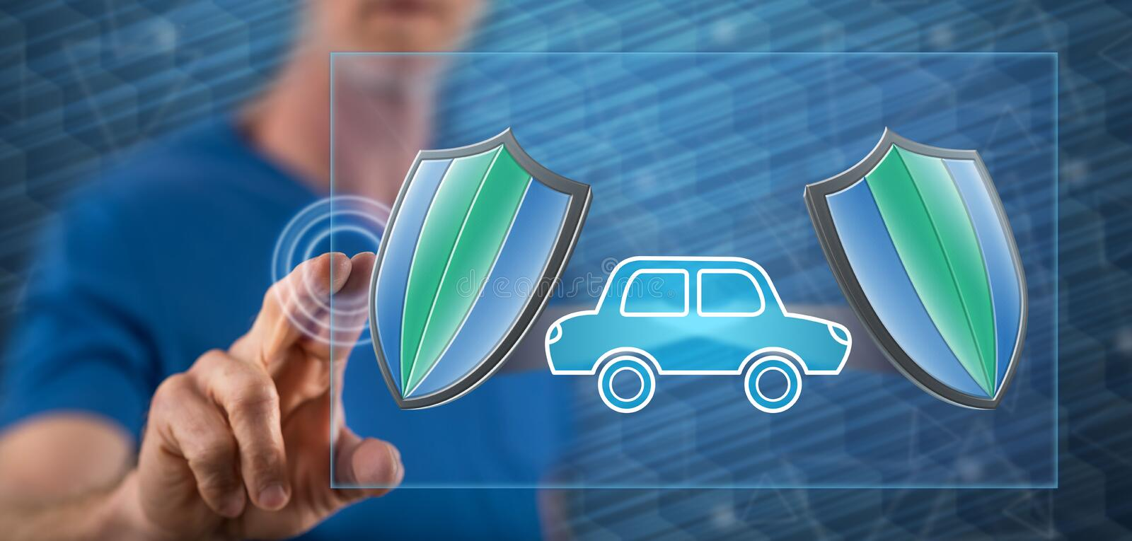 Man touching a car insurance concept. On a touch screen with his finger royalty free stock photo