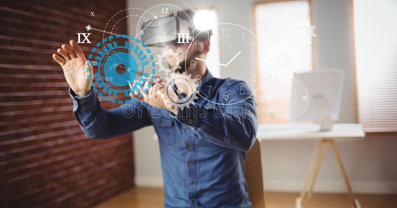 Man touching clock and gears seen through VR glasses vector illustration