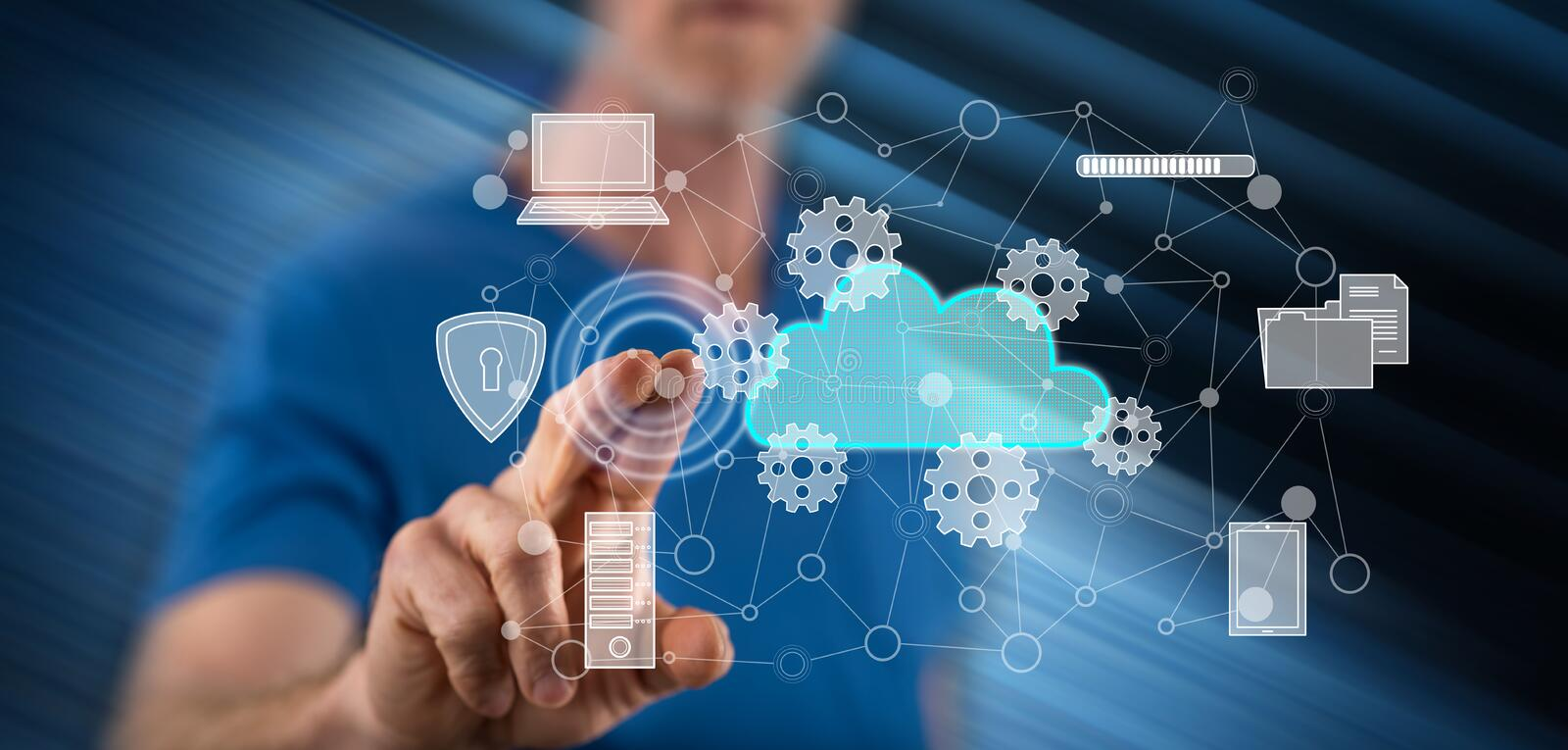 Man touching a cloud computing concept. On a touch screen with his finger stock images