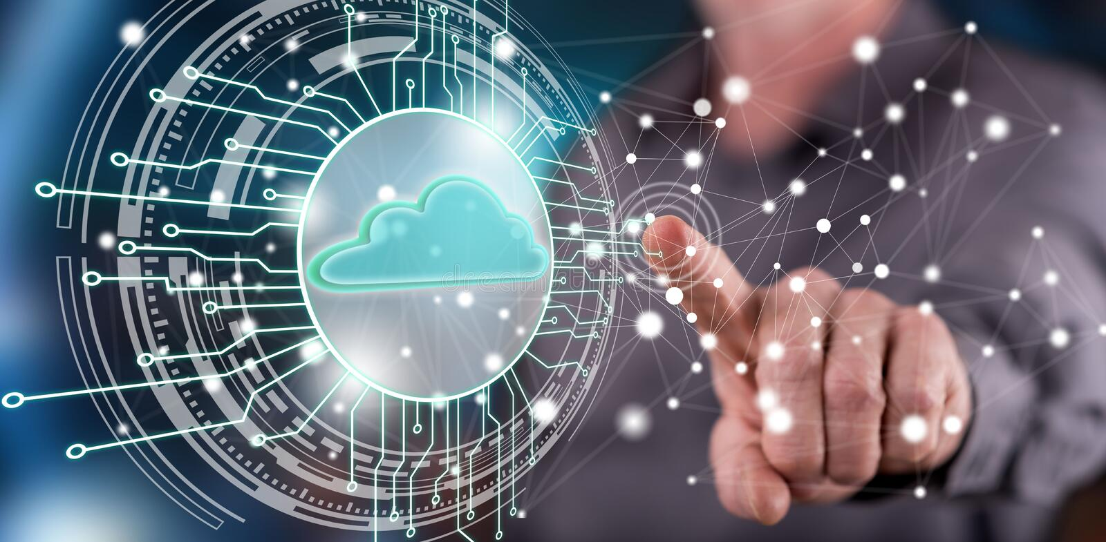 Man touching a cloud computing system concept stock photo