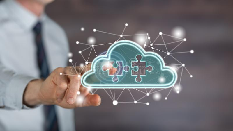 Man touching a cloud networking concept. Man ing a cloud networking concept on a screen with his finger stock photography