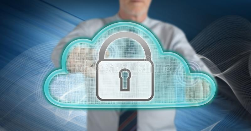 Man touching a cloud security concept royalty free stock photography